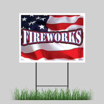 """18""""x24"""" Fireworks Yard Sign Firecracker Stand July 4th Retail Store Sign"""