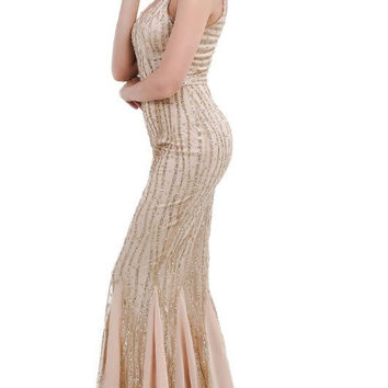 Gold Sequins Chiffon Gown