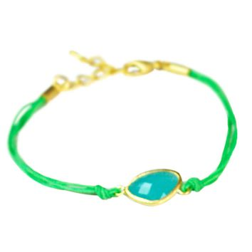Green Cord Blue Glass Stone Bracelet