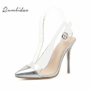 Rumbidzo Women Pumps 2018 Fashion Brand Women Shoes High Heels Pointed Toe Buckle Strap Party Shoes Clear Transparent PVC