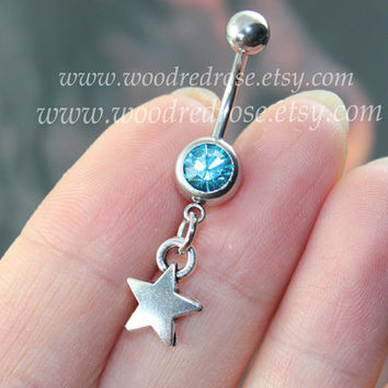 Birthstone Navel Piercing, Silver Supernatural Pentagram ,Star Belly Button Ring ,Dangle Belly Ring ,Belly Ring ,Belly Button Piercing