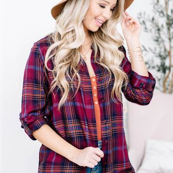 Maroon Plaid Button Up Top