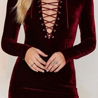 Passionate Persuasion Burgundy Wine Velvet Long Sleeve Plunge V Neck Lace Up Bodycon Mini Dress