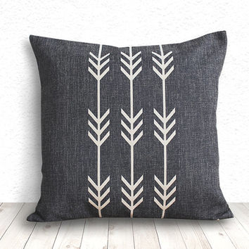 Geometric Pillow Cover, Pillow Cover, Tribal Pillow Cover, Linen Pillow Cover 18x18 - Printed Arrow - 111