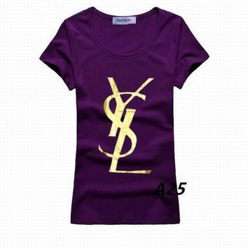 Ysl T Shirt Ysl Tshirt Ysl Short Round Collar T Woman S Xl Yves Saint Laurent T Shirt - Ready Stock