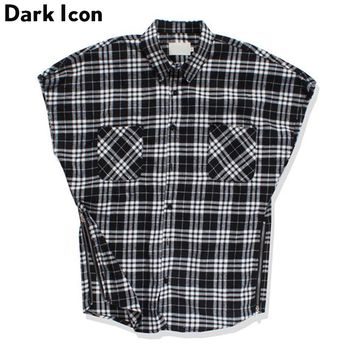 Black White Plaid Turn-down Collar Men's Shirt Unlocked Sleeveless Summer Side Zipper Shirt Men