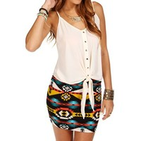 Tan Front Tie Sleeveless Top