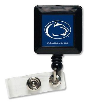 """Licensed Penn State Nittany Lions 1"""" x 1"""" Retractable Badge Holder Key Chain PSU Wincraft KO_19_1"""