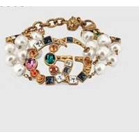 Gucci Classic Popular Women Retro Diamond Exaggerated Pearl Bracelet Accessories Jewelry