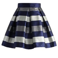 Cute Stripes Pleated Skirt in Blue