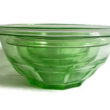 Vintage Hazel Atlas, Mixing Bowls, Green, Rest Well, Nesting Serving Bowls, Rolled Rim, Set of 3, Depression Glass, Vintage Kitchen, Retro