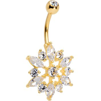 Clear Gem Gold PVD Sunflake Belly Ring