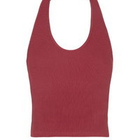 Ribbed Halterneck Crop Top - Red