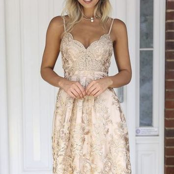 Breathtaking 2.0 Dress (Gold) | Xenia Boutique | Women's fashion for Less - Fast Shipping