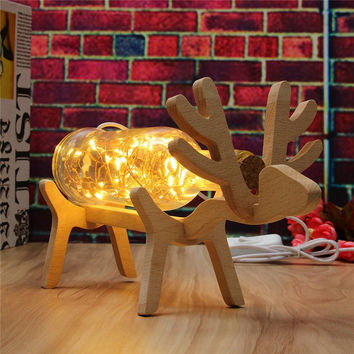 3D Illusion Wood Glass Deer LED String Light LED Table Lamp Night Light Home Desk Room Decoration For Friends Kids Gift