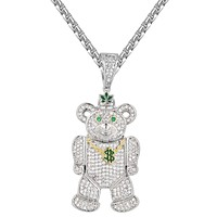 Iced Out Weed Money Teddy Bear 14k Gold Finish Pendant