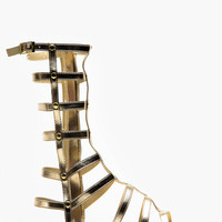 Dollhouse Mid Calf Length Gold Gladiator Sandals