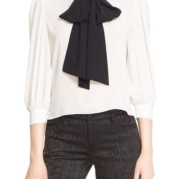 Alice + Olivia 'Treena' Contrast Bow Stretch Silk Blouse | Nordstrom