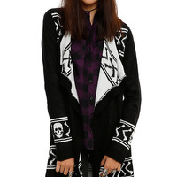 Black & White Skull & Crossbones Girls Open Cardigan