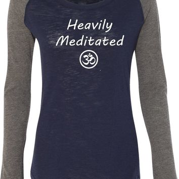 Womens Yoga T-shirt Heavily Meditated with Om Preppy Patch Elbow Tee