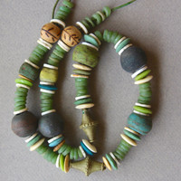 Earthy Green Trade Bead Necklace Vintage African Sand Cast Beads w Antique Green and Yellow Hebrons Meadow Grass Colors Ethnic Boho Jewelry