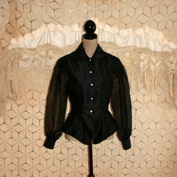 Dressy Black Blouse Sheer Back Sheer Sleeve Long Sleeve Edwardian Gothic Goth Victorian Button Up Shirtwaist Blouse Medium Womens Clothing