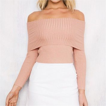 Off Shoulder Knit Sweater Blouse Solid 2017 Fashion Fall Top Womens Tops And Blouses For New Blouse