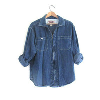 Vintage Blue Denim Jean shirt with Zipper / womens size L