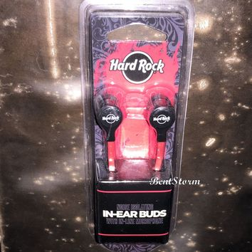 Licensed cool Hard Rock Cafe Logo In Ear Comfort EARBUDS Headphones w/ In Line Microphone NEW