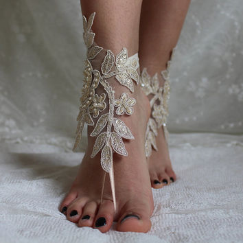 Champagne Lace Barefoot Sandals Beach Wedding Lace Shoes,Wedding ShoesChampagne Lace Sandals,French Lace sandals,Bridal shoes,Foot Jewelry