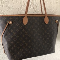 Authentic Louis Vuitton Monogram Neverfull Monogram GM Tote Bag Purse SP5018