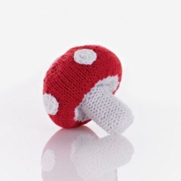 Mushroom Fair Trade Knitted Baby Rattle