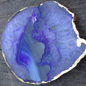 Agate Stone Coaster Set with Gold Leafing - Pink, Purple, Salmon and Blue