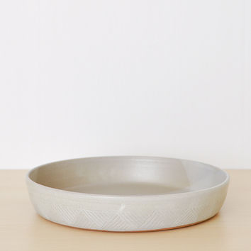 Hand Carved Serving Bowl - White Washed Large
