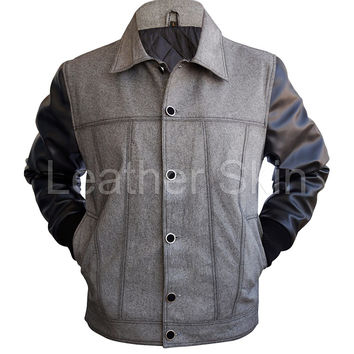 Leather Skin Men Denim Leather Jacket