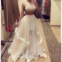 Champagne Two Piece Prom Dresses 2015 Custom Made Women Long Evening Party Dress [7981322055]
