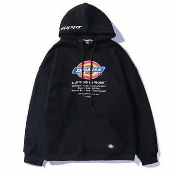 Dickies autumn and winter new couple printing embroidery round neck hooded plus velvet loose sweater black