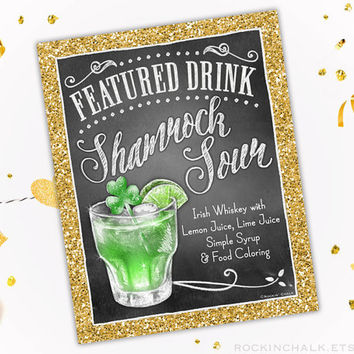 St Patricks Day Party, Wedding | As-Is or Personalized Wedding Keepsake Gift | Irish Shamrock Sour Cocktail Sign
