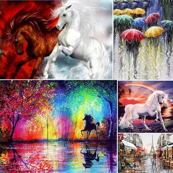 30x40cm 5D Diamond Painting DIY Landscape Horse Diamond Embroidery Wall Hanging Painting Home Room Decor