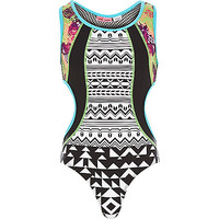 River Island Girls black splice print cut out swimsuit