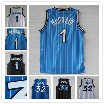 Top quality Mens #32 Retro Shaquille O'Neal Jersey Throwback Stitched #1 Tracy McGrady #1 Penny Hardaway basketball Jersey Stitched Logo