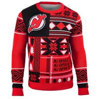 New Jersey Devils NHL 2015 Patches Ugly Crewneck Holiday Sweater