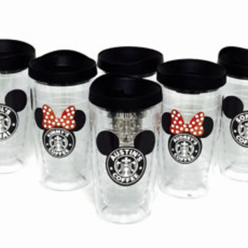 6 Wedding Bride favors  x 16oz Black & Red * Starbucks Minnie * Latte  or coffee Personalized NON Glitter Tumbler for Hot or Cold Beverages.