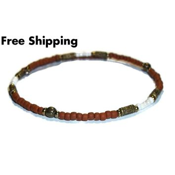 Terra Cotta & Cream Glass Beaded Bronze Artisan Crafted Stackables Adjustable  Bracelet (L)