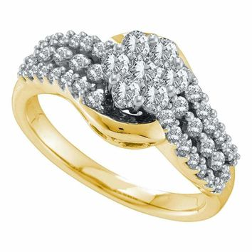 14kt Yellow Gold Women's Round Diamond Flower Cluster Contoured Ring 3-4 Cttw - FREE Shipping (USA/CAN)