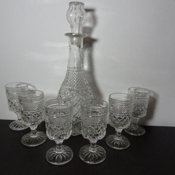 Vintage Clear Glass Liquor or Wine Decanter with Set of 6 Wine or Liquor Stemmed Glasses with Cut Diamond Pattern
