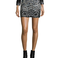 Elana Beaded Laser-Cut Skirt, Black/White, Size: