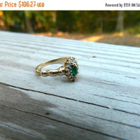 Emerald Ring, Diamond Ring, Bamboo Ring, Gold Ring, 10k Karat, Size 5 1/2 , 1990s, Real Emerald, Gift for Her, Gold Emerald Ring,