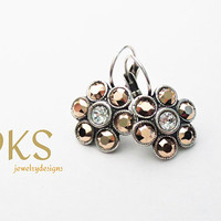 Rose gold, Swarovski Flower Earrings, Lever Backs, Antique Silver, Summer, Jewelry Gifts,Drops, Dangles,DKSJewelrydesigns,FREE SHIPPING