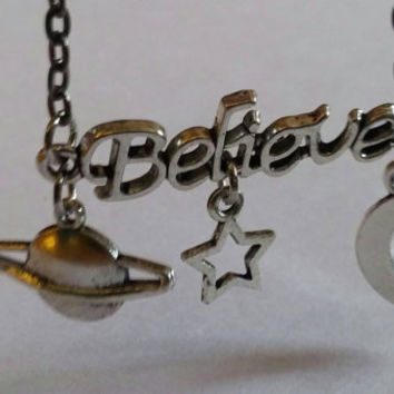 Outer space believe necklace